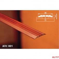Алюминиевый порог 25х3 мм,  с открытым типом крепления